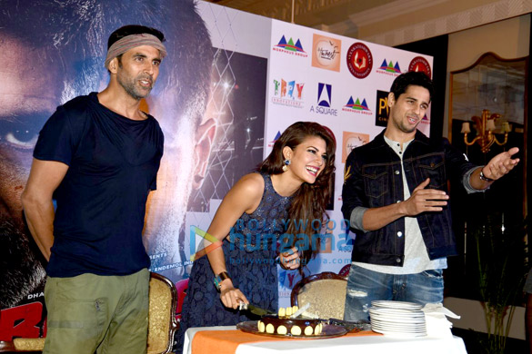 Jacqueline Fernandez celebrates her birthday in Delhi at the 'Brothers' media meet