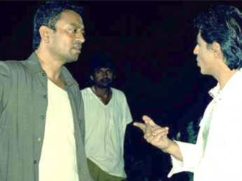 On The Sets Of The Film Billu Featuring Irrfan Khan,Shahrukh Khan