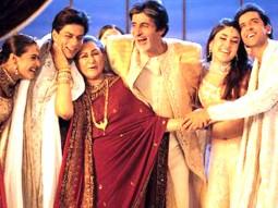 Movie Still From The Film Kabhi Khushi Kabhie Gham,Kajol,Shahrukh Khan,Jaya Bachchan,Amitabh Bachchan,Kareena Kapoor,Hrithik Roshan
