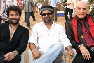 On The Sets Of The Film Welcome Featuring Anil Kapoor,Feroz Khan