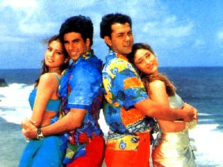 Movie Still From The Film Ajnabee Featuring Bipasha Basu,Akshay Kumar,Bobby Deol,Kareena Kapoor