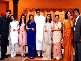 Movie Still From The Film Ek Rishtaa The Bond of Love Featuring Karisma Kapoor,Akshay Kumar,Amitabh Bachchan,Shakti Kapoor