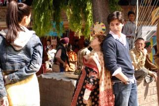 On The Sets Still From The Film Jab We Met Featuring Kareena Kapoor,Saroj Khan,Shahid Kapoor