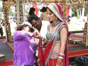 On The Sets Of The Film Singh Is King Featuring Katrina Kaif