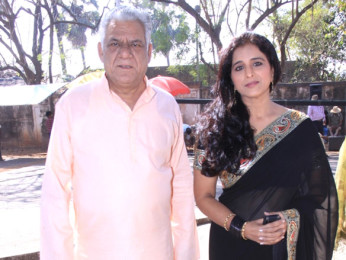 On The Sets Of The Film Tension Mat Le Yaar,Om Puri,Neha Bamb