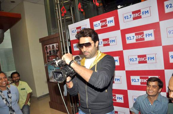 Abhishek with Rohit Shetty & RJ Yamini promote 'Bol Bachchan'
