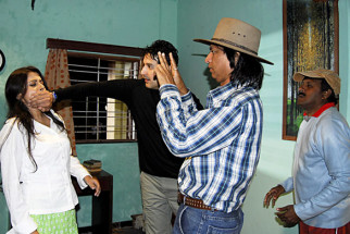 On The Sets Of The Film Riwayat,Samapika Debnath,Khalid Siddiqui,Vijay Patkar