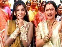 Movie Still From The Film Bulandi Featuring Raveena Tandon,Rekha