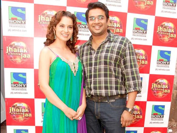 Kangna and R Madhavan promote 'Tanu Weds Manu' on Jhalak Dikhhla Jaa sets