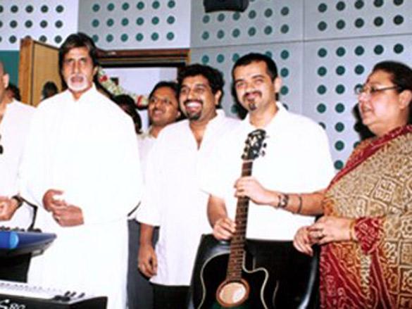 Photo Of Shankar,Ehsaan,Loy,Amitabh Bachchan,Honey Irani From The Mahurat Of Honey Irani's Untitled Venture