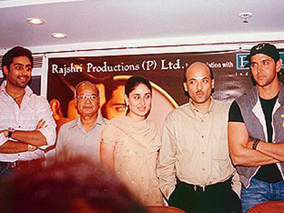 Photo Of Abhishek Bachchan,Tarachand Barjatya,Kareena Kapoor,Sooraj Barjatya,Hrithik Roshan,Anu Malik From The Main Prem Ki Diwani Hoon Press Meet