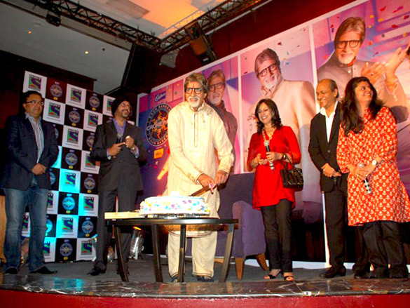 Amitabh Bachchan cuts his birthday cake at the KBC's bash