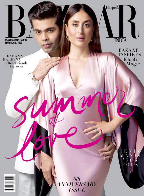 Karan Johar, Kareena Kapoor Khan On The Cover Of Harper's Bazaar,Mar 2015