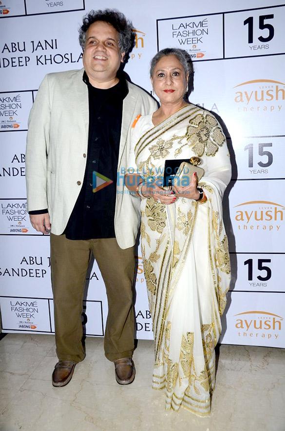 Jaya Bachchan, Dimple Kapadia & others at Abu Jani & Sandeep Khosla's show at Lakme Fashion Week 2015