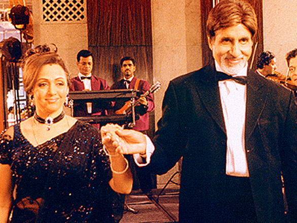 On The Sets Of The Film Baghban Featuring Hema Malini,Amitabh Bachchan