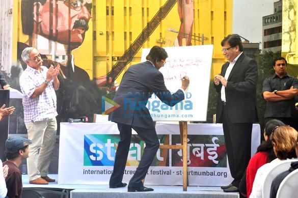 Amitabh Bachchan snapped promoting a street art festival
