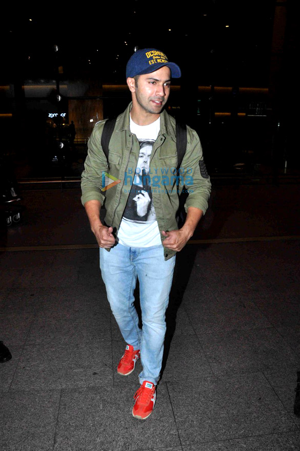 Varun Dhawan arrives back from Bangkok