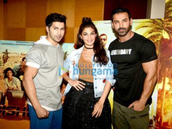 Varun Dhawan, Jacqueline Fernandez & John Abraham at 'Dishoom' promotions