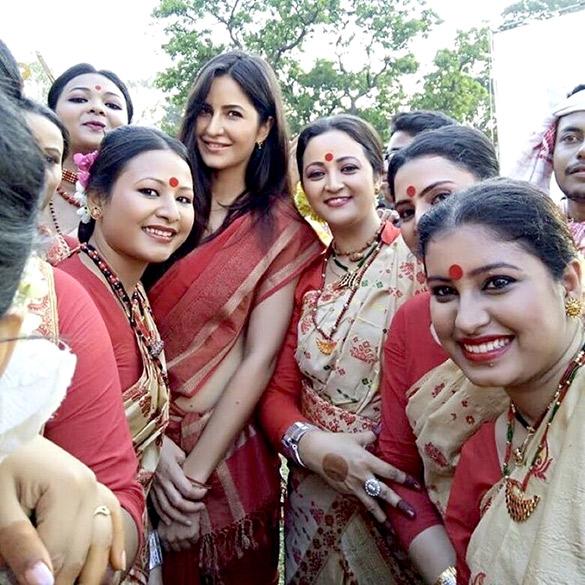 Katrina Kaif in a saree on the sets of Jagga Jasoos
