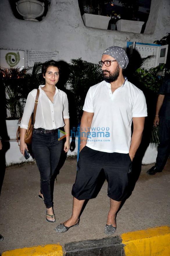 Aamir Khan snapped post dinner at Olive