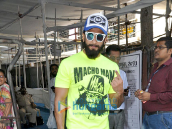 Ranveer Singh casts his vote with his father for the BMC elections in Bandra