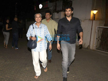Aditya Roy Kapur snapped with his mom and brother at Prithvi Theatre