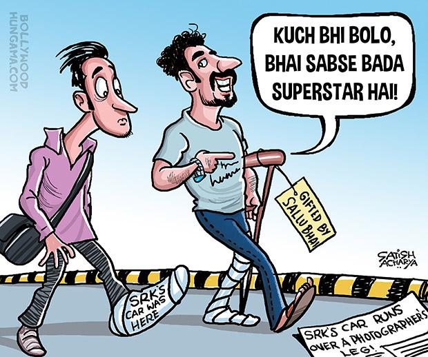 Bollywood Toons Shahrukh's car accidentally hits a photographer!