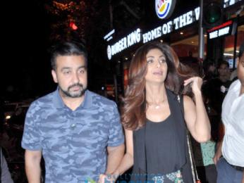 Shilpa Shetty and Raj Kundra snapped post dinner at Bastian