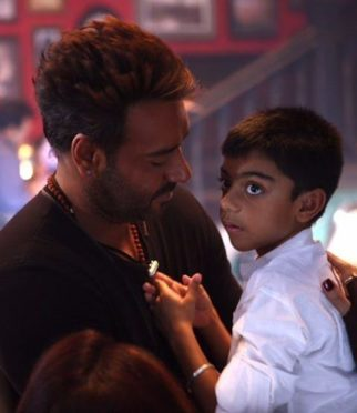 Ajay Devgn shares a candid moment with son Yug on the sets of Golmaal Again