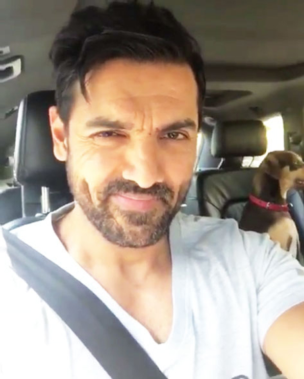 John Abraham becomes a chauffeur for his cute dog!
