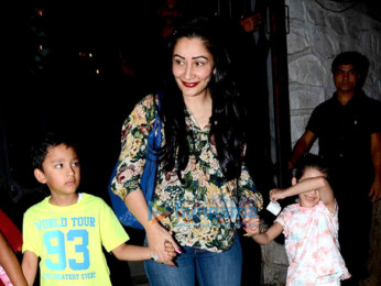 Manyata Dutt snapped with kids post dinner at a restaurant in Bandra
