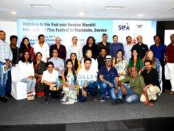 Ananth Narayan Mahadevan, Mrinal Kularni, Bharat Dabholkar & others at a press con to announce the 1st ever Sweden-Marathi International Film Festival in Stockholm