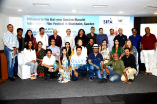 Ananth Narayan Mahadevan, Mrinal Kularni, Bharat Dabholkar & others at a press con to announce the 1st ever Sweden-Marathi International Film Festival in Stockholm