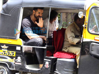 John Abraham snapped taking a rickshaw ride after a salon session at Mad O Wot