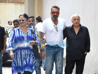 Sanjay Dutt, Mahesh Bhatt and Pooja Bhatt snapped post meeting at Vishesh Films' office