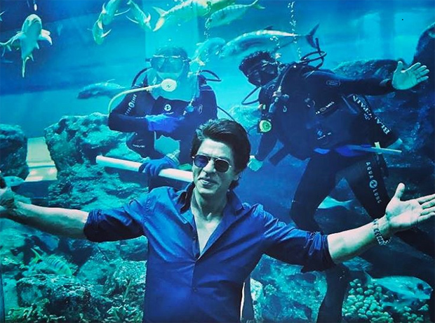 Shah Rukh Khan strikes his signature pose; gets photobombed by scuba divers in Dubai