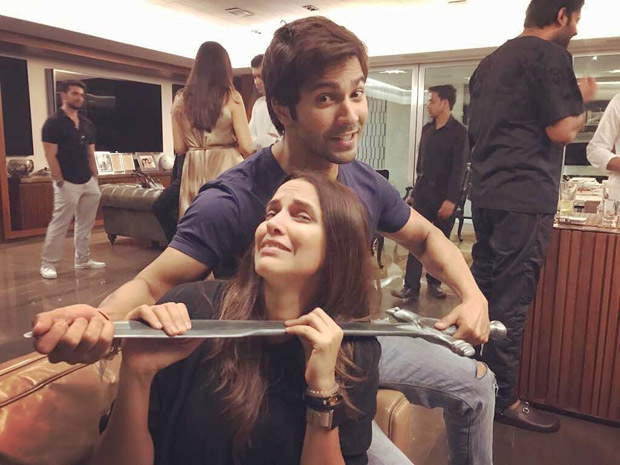 Check out Varun Dhawan and Neha Dhupia goof around with Baahubali's sword