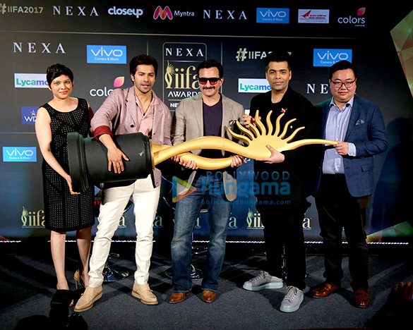 Saif Ali Khan, Karan Johar & Varun Dhawan at the press conference of 'IIFA Awards 2017'