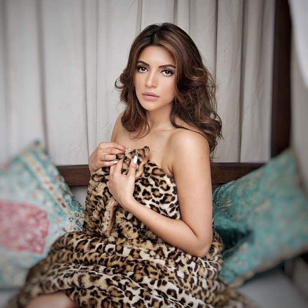 HOT! Shama Sikander poses only in an animal print sheet- newsdezire