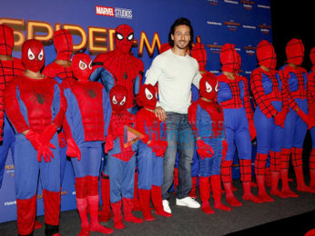 The hunky Tiger Shroff at the film promotions of Spiderman -The Homecoming