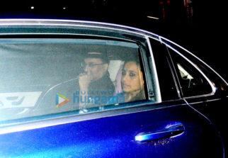 Aditya Chopra, Rani Mukherjee and Pamela Chopra snapped post a family dinner in Bandra