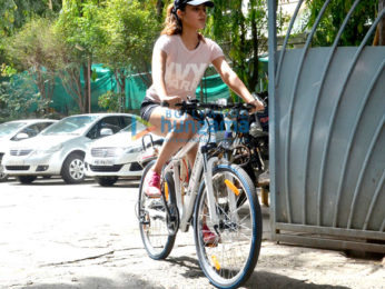 Rhea Chakraborty snapped riding a cycle to her gym