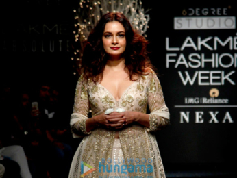 Dia Mirza walks for Faabiiana at Lakme Fashion Week 2017