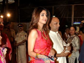 Shilpa Shetty and family snapped at ISCKON Janmashtami celebration