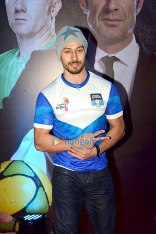 Tiger Shroff and Sunny Leone at the launch of 'Premier Futsal Season 2'
