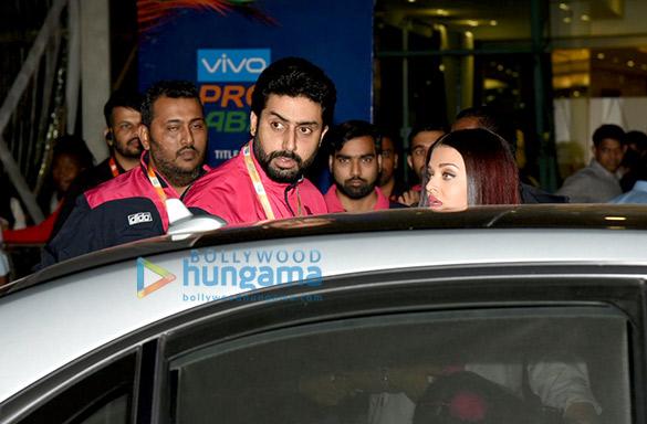 Abhishek Bachchan, Aishwarya Rai Bachchan and Sachin Tendulkar at Pro Kabaddi League match