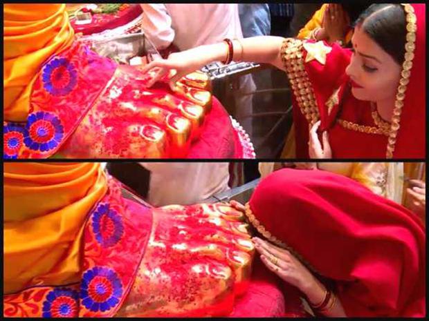 Aishwarya Rai Bachchan looks stunning in red saree at Lalbaugcha Raja-4
