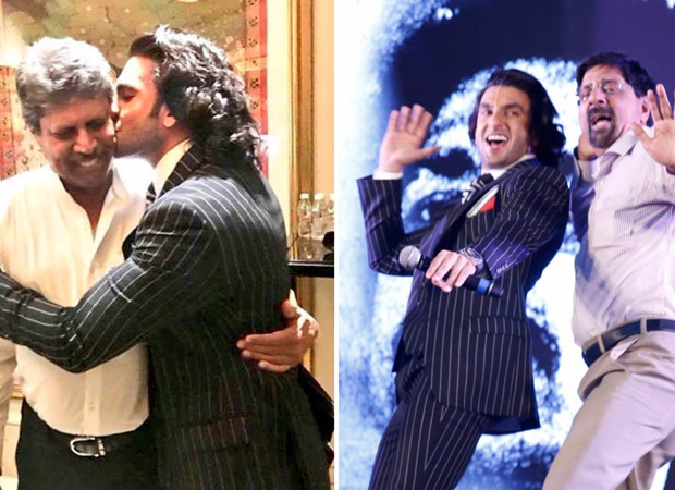 Check out Ranveer Singh's gives a sweet kiss to Kapil Dev; dances with Srikkanth at '83 launch001