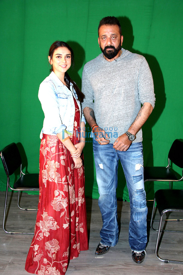 Sanjay Dutt & Aditi Rao Hydari snapped promoting their film 'Bhoomi'