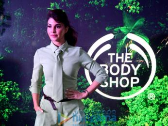 Jacqueline Fernandez snapped promoting the Body Shop in Delhi